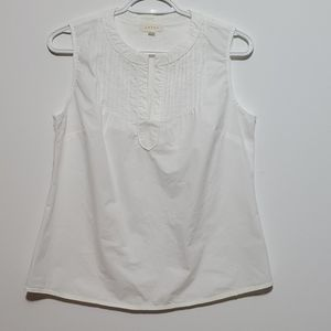 ADIVA White cotton Sleeveless split neck shirt